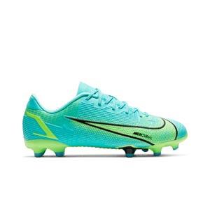 Nike Mercurial Jr Vapor 14 Academy FG/MG - Botas de fútbol infantiles Nike FG/MG para césped artificial - azules turquesa - pie derecho