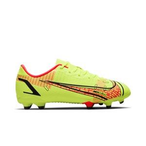 Nike Mercurial Jr Vapor 14 Academy FG/MG - Botas de fútbol infantiles Nike FG/MG para césped artificial - amarillas flúor, rojas