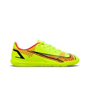 Nike Mercurial Jr Vapor 14 Academy IC - Zapatillas de fútbol sala infantiles Nike suela lisa IC - amarillas flúor, rojas