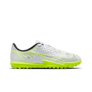 Nike Mercurial Jr Vapor 14 Academy TF - Zapatillas de fútbol multitaco para niño Nike suela turf - blancas y plateadas - pie derecho