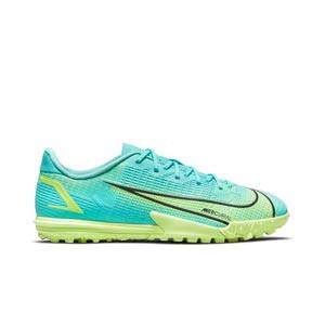 Nike Mercurial Jr Vapor 14 Academy TF - Zapatillas de fútbol infantiles multitaco Nike suela turf - azules turquesa - pie derecho