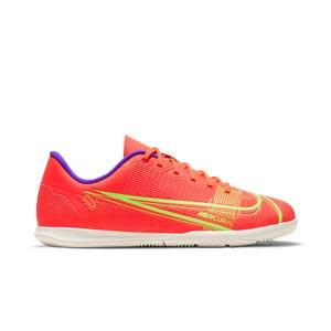 Nike Mercurial Jr Vapor 14 Club IC - Zapatillas de fútbol sala infantiles Nike suela lisa IC - rosa rojizas, plateadas, azul moradas - ie derecho