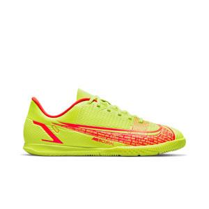 Nike Mercurial Jr Vapor 14 Club IC - Zapatillas de fútbol sala infantiles Nike suela lisa IC - amarillas flúor, rojas