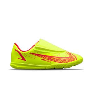 Nike Mercurial Jr Vapor 14 Club IC PS V - Zapatillas de fútbol sala infantiles con velcro Nike suela turf - amarillas flúor, rojas