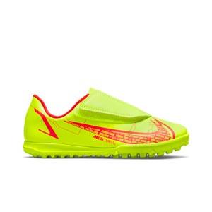 Nike Mercurial Jr Vapor 14 Club TF PS V - Zapatillas de fútbol multitaco infantiles con velcro Nike suela turf - amarillas flúor, rojas