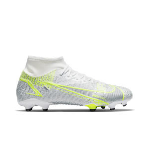 Nike Mercurial Superfly 8 Academy FG/MG - Botas de fútbol con tobillera Nike FG/MG para césped artificial - blancas y plateadas - pie derecho