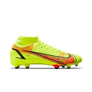 Nike Mercurial Superfly 8 Academy FG/MG - Botas de fútbol con tobillera Nike FG/MG para césped artificial - amarillas flúor, rojas