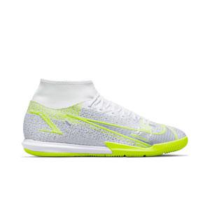 Nike Mercurial Superfly 8 Academy IC - Zapatillas de fútbol sala con tobillera Nike suela lisa IC - blancas y plateadas - pie derecho