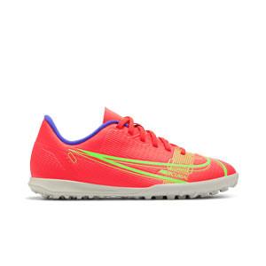 Nike Mercurial Jr Vapor 14 Club TF - Zapatillas de fútbol multitaco infantiles Nike suela turf - rosa rojizas, plateadas, azul moradas - pie derecho