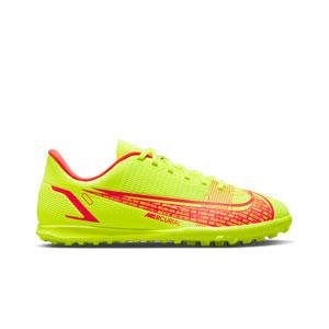Nike Mercurial Jr Vapor 14 Club TF - Zapatillas de fútbol multitaco infantiles Nike suela turf - amarillas flúor, rojas