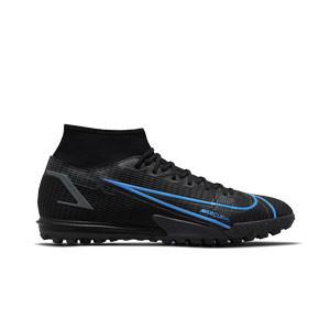 Nike Mercurial Superfly 8 Academy TF - Zapatillas de fútbol multitaco con tobillera Nike suela turf - negras