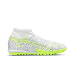 Nike Mercurial Superfly 8 Academy TF - Zapatillas de fútbol multitaco con tobillera Nike suela turf - blancas y plateadas - pie derecho