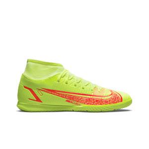 Nike Mercurial Superfly 8 Club IC - Zapatillas de fútbol sala con tobillera Nike suela lisa IC - amarillas flúor, rojas