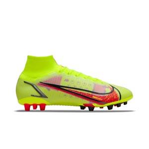 Nike Mercurial Superfly 8 Elite AG - Botas de fútbol con tobillera Nike AG para césped artificial - amarillas flúor, rojas