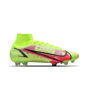 Nike Mercurial Superfly 8 Elite FG - Botas de fútbol con tobillera Nike FG para césped natural o artificial de última generación - amarillas fluor, rojas