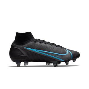 Nike Mercurial Superfly 8 Elite SG-PRO AC - Botas de fútbol con tobillera Nike SG-PRO con tacos de alúminio para césped natural blando - negras