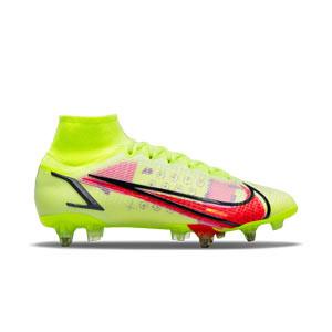 Nike Mercurial Superfly 8 Elite SG-PRO AC - Botas de fútbol con tobillera Nike SG-PRO con tacos de alúminio para césped natural blando - amarillas flúor, rojo