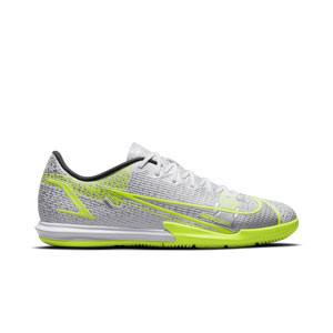 Nike Mercurial Vapor 14 Academy IC - Zapatillas de fútbol sala Nike suela lisa IC - blancas y plateadas - pie derecho