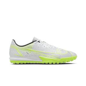 Nike Mercurial Vapor 14 Academy TF - Zapatillas de fútbol multitaco Nike suela turf - blancas y plateadas - pie derecho