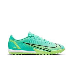 Nike Mercurial Vapor 14 Academy TF - Zapatillas de fútbol multitaco Nike suela turf - azules turquesa - pie derecho