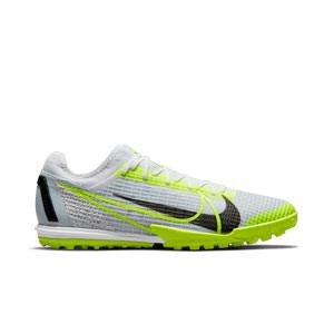 Nike Mercurial Zoom Vapor 14 Pro TF - Zapatillas de fútbol multitaco Nike suela turf - blancas y plateadas - pie derecho