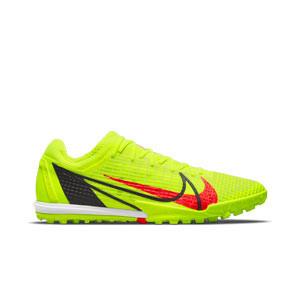 Nike Mercurial Zoom Vapor 14 Pro TF - Zapatillas de fútbol multitaco Nike suela lisa turf - amarillas flúor , rojas
