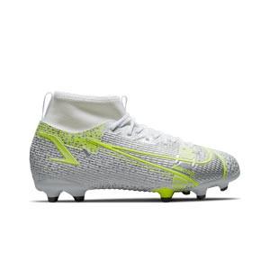 Nike Mercurial Jr Superfly 8 Academy FG/MG - Botas de fútbol infantiles con tobillera Nike FG/MG para césped artificial - blancas y plateadas - pie derecho
