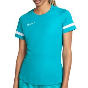 Camiseta Nike Dri-Fit Academy 21 mujer - Camiseta de maga corta de mujer para entrenamiento fútbol Nike - azul turquesa - frontal