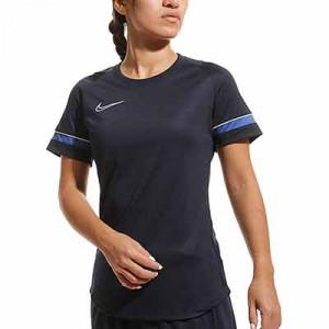 Camiseta Nike Dri-Fit Academy 21 mujer - Camiseta de manga corta de mujer para entrenamiento fútbol Nike - azul marino