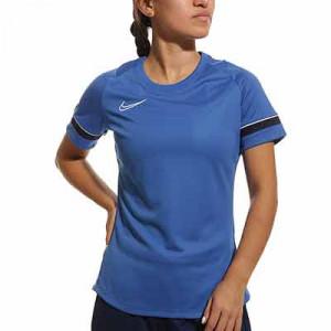 Camiseta Nike Dri-Fit Academy 21 mujer - Camiseta de manga corta de mujer para entrenamiento fútbol Nike - azul