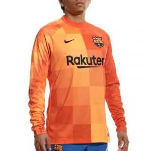 Camiseta Nike Barcelona portero 2021 2022 Dri-Fit Stadium - Camiseta de manga larga de portero Nike del FC Barcelona 2021 2022 - naranja - completa frontal