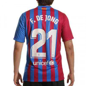 Camiseta Nike Barcelona 2021 2022 De Jong Stadium - Camiseta primera equipación de Frenkie de Jong Nike del FC Barcelona 2021 2022 - azulgrana