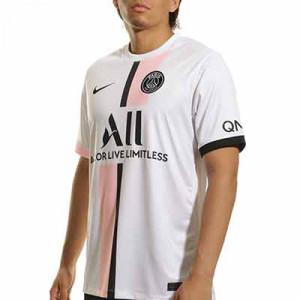 Camiseta Nike 2a PSG 2021 2022 Dri-Fit Stadium - Camiseta segunda equipación Nike del París Saint-Germain 2021 2022 - blanca y rosa pastel