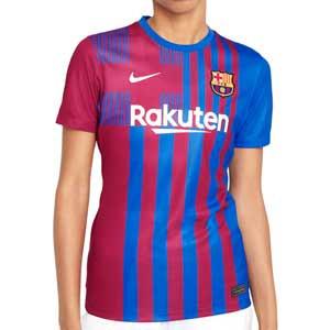 Camiseta Nike Barcelona 2021 2022 mujer Dri-Fit Stadium - Camiseta primera equipación mujer Nike del FC Barcelona 2021 2022 - azulgrana - completa frontal