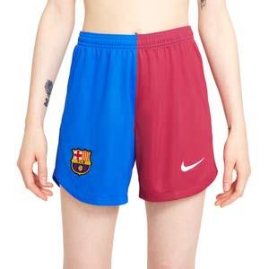 Short Nike Barcelona 2021 2022 mujer Dri-Fit Stadium - Pantalón corto primera equipación mujer Nike del FC Barcelona 2021 2022 - azulgrana - completa frontal