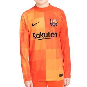 Camiseta Nike Barcelona portero 2021 2022 niño Dri-Fit Stadium - Camiseta de manga larga infantil de portero Nike del FC Barcelona 2021 2022 - naranja - completa frontal