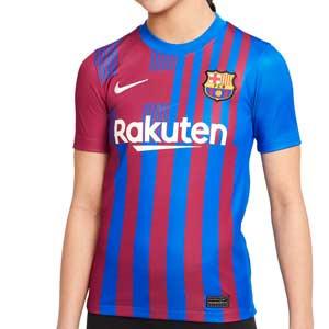 Camiseta Nike Barcelona 2021 2022 niño Dri-Fit Stadium - Camiseta primera equipación infantil Nike del FC Barcelona 2021 2022 - azulgrana - completa frontal