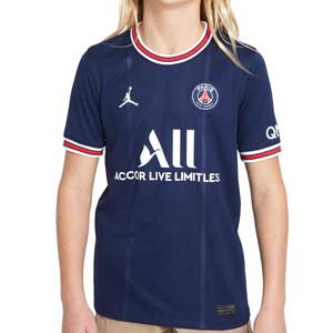 Camiseta Nike PSG x Jordan 2021 2022 niño Dri-Fit Stadium - Camiseta primera equipación infantil Nike x Jordan del París Saint-Germain 2021 2022 - azul marino - frontal