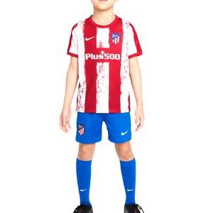 Equipación Nike Atlético niño 3-8 años 2021 2022 - Conjunto infantil de 3 a 8 años Nike primera equipación Atlético de Madrid 2021 2022 - roja y blanca