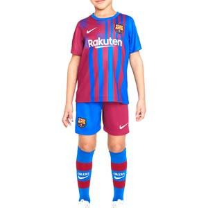 Equipación Nike Barcelona niño 3 - 8 años 2021 2022 - Conjunto infantil de 3 a 8 años Nike primera equipación FC Barcelona 2021 2022 - azulgrana - completa frontal