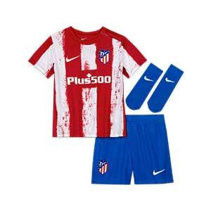 Equipación Nike Atlético bebé 3-36 meses 2021 2022 - Conjunto bebé de 3 a 36 meses Nike primera equipación Atlético de Madrid 2021 2022 - roja y blanca