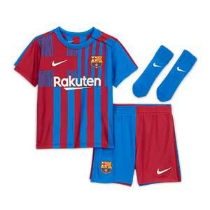 Equipación Nike Barcelona bebé 3 - 36 meses 2021 2022 - Conjunto bebé de 3 a 36 meses Nike primera equipación FC Barcelona 2021 2022 - azulgrana - completa frontal