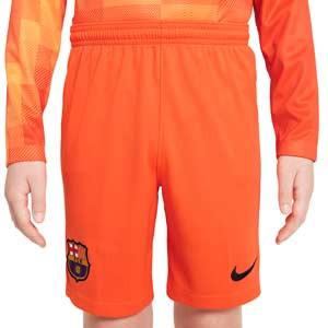 Short Barcelona portero 2021 2022 niño Dri-Fit Stadium - Pantalón corto infantil de portero Nike del FC Barcelona 2021 2022 - naranja - completa frontal