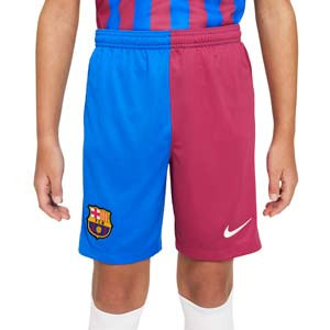 Short Nike Barcelona 2021 2022 niño Dri-Fit Stadium - Pantalón corto primera equipación infantil Nike del FC Barcelona 2021 2022 - azulgrana - completa frontal