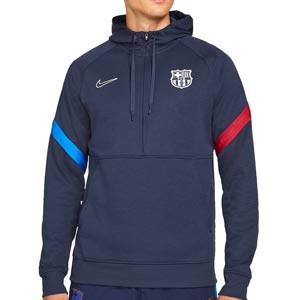 Sudadera Nike Barcelona Travel Fleece Hoodie - Sudadera con capucha de calle Nike del FC Barcelona - azul marino