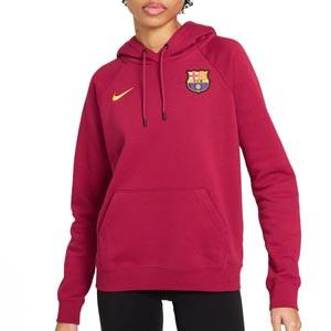 Sudadera Nike Barcelona mujer Essential Hoodie Fleece - Sudadera con capucha de algodón para mujer Nike del FC Barcelona - granate - frontal