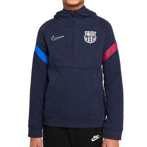 Sudadera Nike Barcelona niño Travel Fleece Hoodie - Sudadera con capucha infantil de calle Nike del FC Barcelona - azul marino