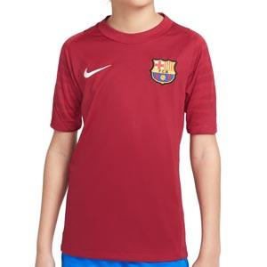 Camiseta Nike Barcelona entrenamiento niño Dri-Fit Strike - Camiseta de entrenamiento infantil Nike del FC Barcelona - granate
