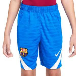 Short Nike Barcelona entrenamiento niño Dri-Fit Strike - Pantalón corto de entrenamiento infantil Nike del FC Barcelona - azul - completa frontal