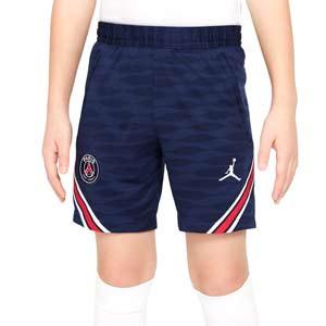 Short Nike PSG X Jordan entreno 2021 2022 niño Strike - Pantalón corto entrenamiento infantil Nike x Jordan del París Saint-Germain 2021 2022 - azul marino - frontal